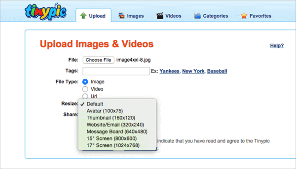 TinyPic image hosting website enables the users to upload photos quickly and easily without creating an account.