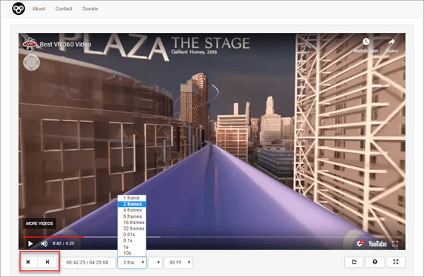 Watch frame by frame online video player