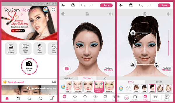 YouCam also has its own camera app for your phone that allows you to select different makeup looks before actually clicking a selfie.