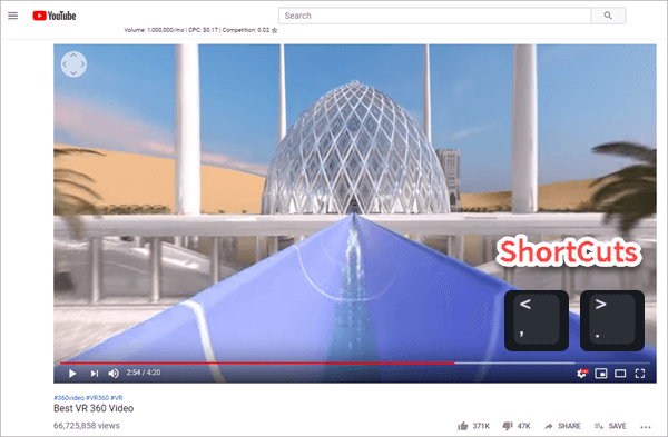 Using YouTube built-in shortcuts to Watch and Play YouTube Videos Frame by Frame