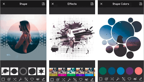 Creative Shape Photo Editor gives an artistic look to all your images using different shape including circle shape.