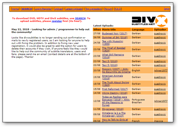 DivX Subtitles is a platform where you can find the subtitles for DVD, DivX, and HDTV.