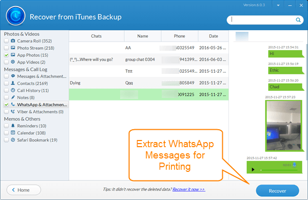 Extract WhatsApp Messages from iPhone Backup and Print to PDF