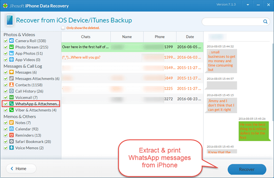 Print Deleted WhatsApp Conversation from iPhone with iPhone Data Recovery