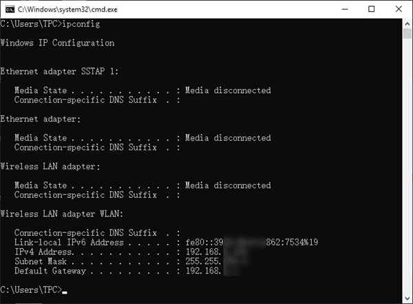 Find Private IP Address in Windows 10 with CMD