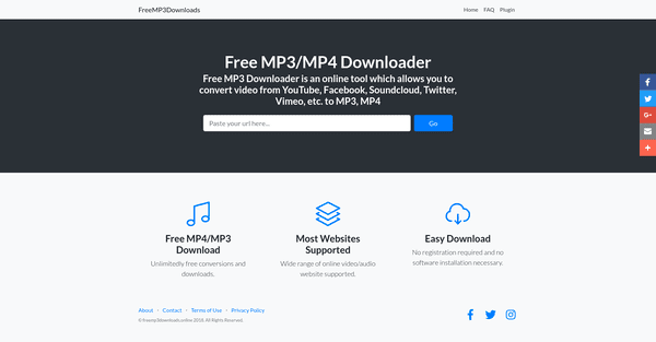 FreeMP3Downloads is totally free to use. It allows music lovers to download their favorite music in mp3 and mp4 formats.