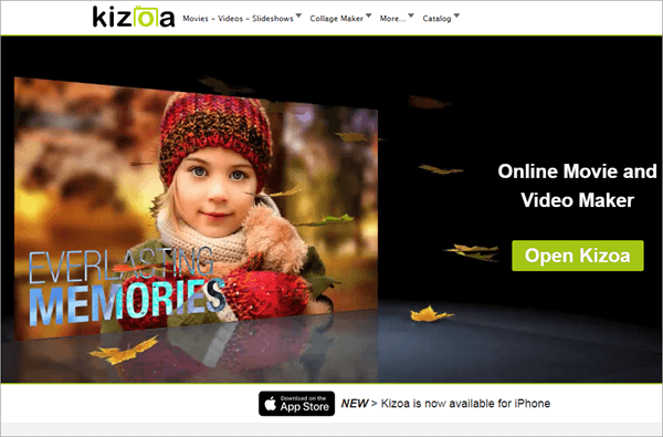 Using Kizoa to edit videos online for free.