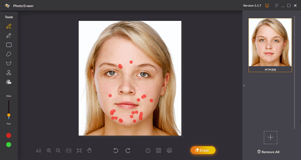 Remove the skin blemishes from the photos before swapping face.