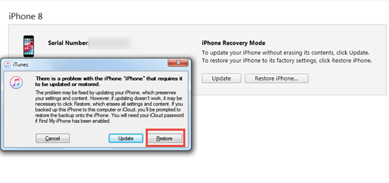 Wipe iPhone without passcode by Recovery Mode