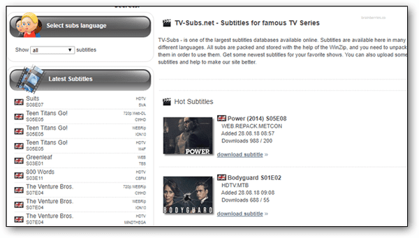 Tvsubs or TVsubtitles.net is a simple and effective site for obtaining subtitles of movies and TV shows.