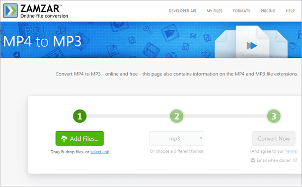 Zamzar Online File Conversion does a very good job with the free MP4 to MP3 approach