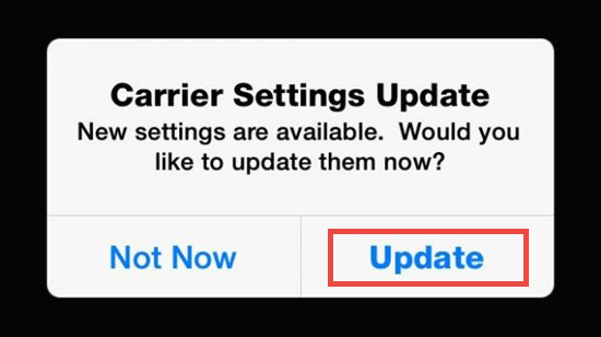 Check for A Carrier Settings Updates