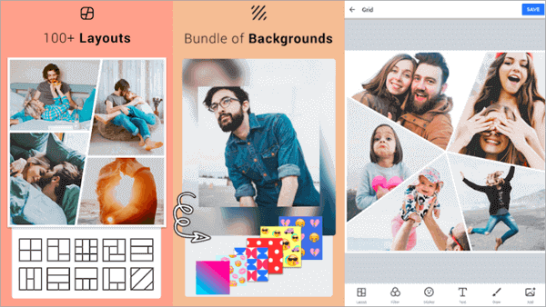Collage Maker allows you to create a collage up to 18 photos at once.