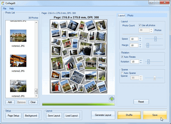 CollageIt offers fifteen different templates for collages to choose from.