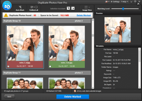 Duplicate Photos Fixer Pro can help you easily free up space in your computer by detecting and deleting the duplicate photos.