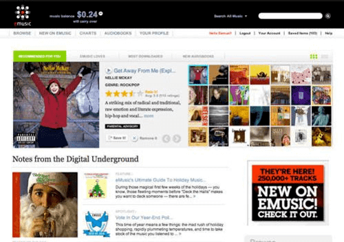 eMusic caters to an addicting base with individualistic tastes.