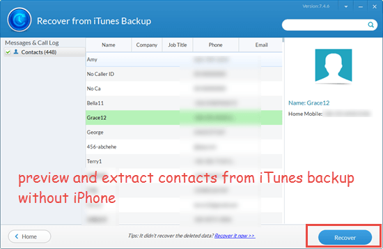 How to Extract Only Contacts from iTunes Backup