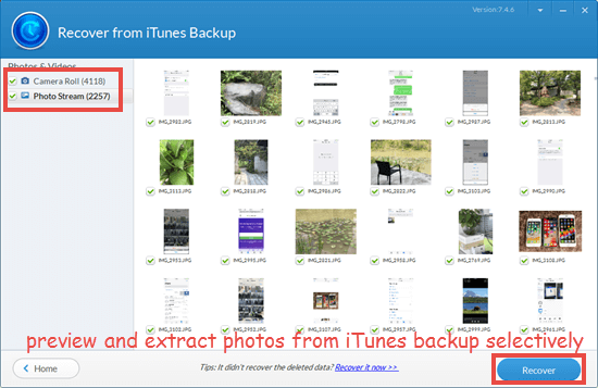 extract photos from an iPhone backup selectively with Jihosoft iPhone Backup Extractor