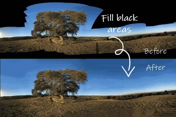 Fill Black Area Of Panorama Photos