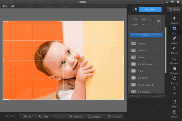 Using Fotor to Crop Photos