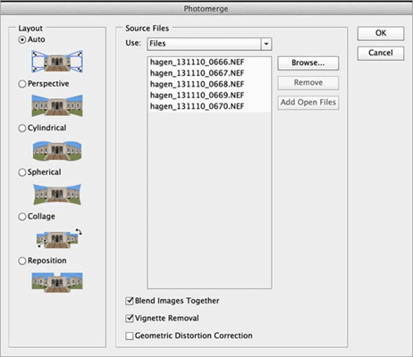 Set preferences in Photomerge window and combine layers In Photoshop