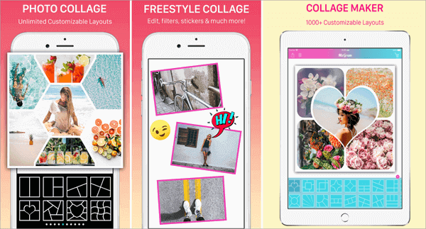 Mixgram Pic Collage Maker provides you with over a thousand fully customizable frames and collage templates.
