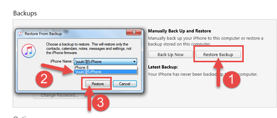 Restore Deleted Videos from iTunes Backup