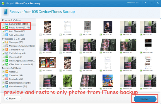 Restore Only Photos from iTunes Backup without iTunes