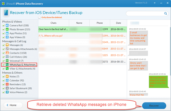 Retrieve Deleted WhatsApp Messages from iPhone Directly