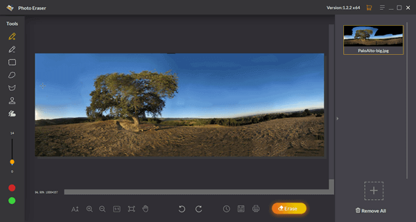 Photo Eraser automatically restores each area every time you run the restoration process.