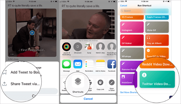 Using Shortcuts to Download Twitter Videos on iPhone