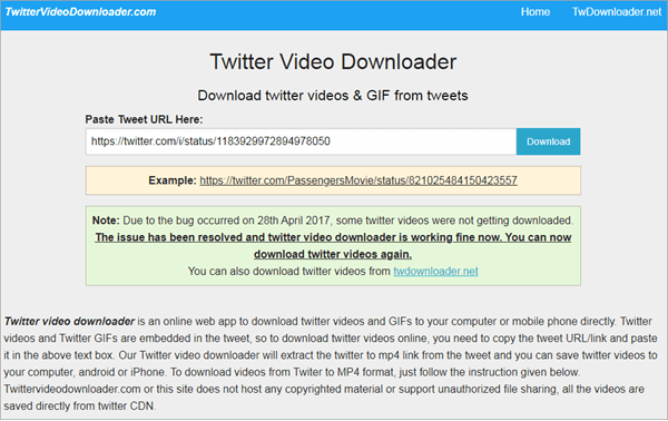 Using Online Twitter Video Downloader to download Twitter videos to Android.