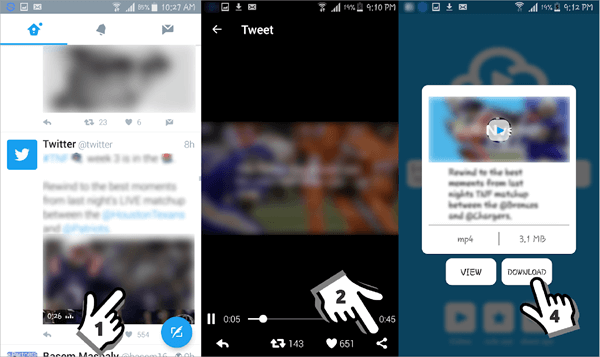 Using Video Downloader for Twitter to download Twitter videos to Android.