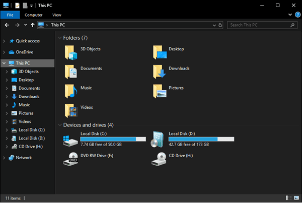 Windows Explorer Dark Theme