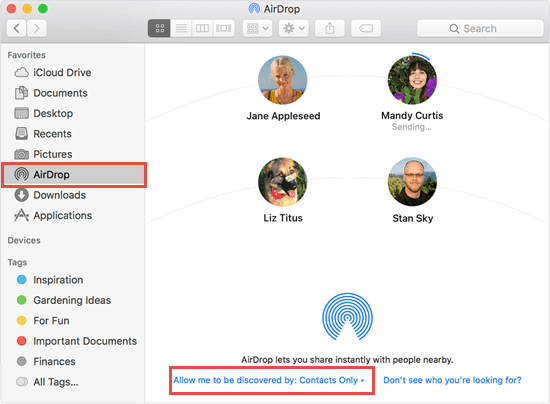 Get Contacts from iPhone to Mac with AirDrop