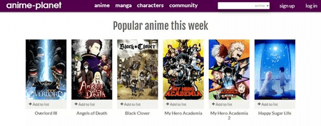 Anime-Planet has got a significant number of anime videos from all around the world.
