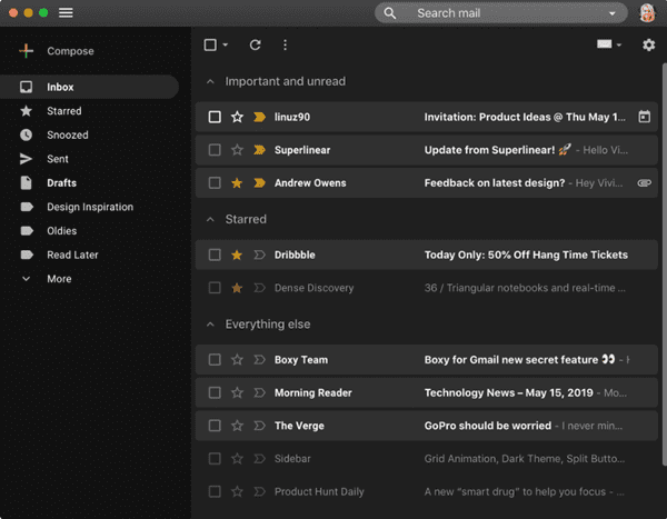 Boxy is the email app for Mac that one would likely choose if you are happy with the Gmail interface.
