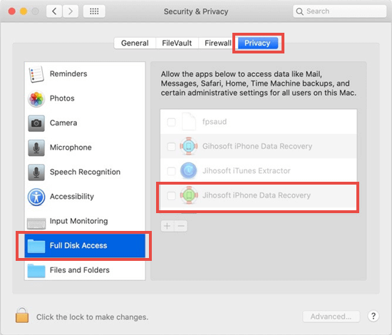 how to enable full disk access in macOS 10.15 for Jihosoft iPhone Data Recovery