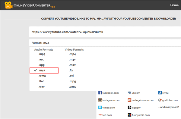 OVC is a free online video conversion website that enables you to convert any video to M4A.