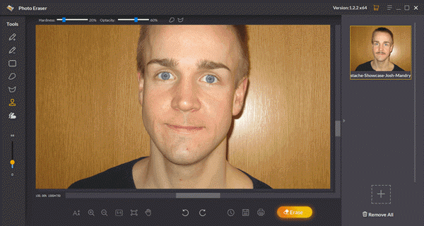 removing beard from photos with the use of Jihosoft Photo Eraser Tool