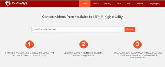 TheYouMp3 is an online MP3 download site that allows you to save all your favorite videos from YouTube to MP3