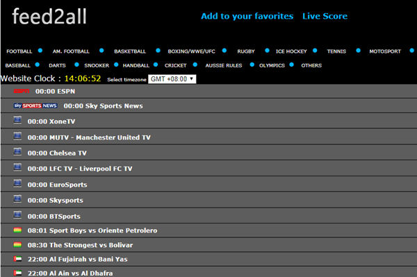 Feed2All comes with an abundance of live video feeds across various soccer matches from all over the globe.