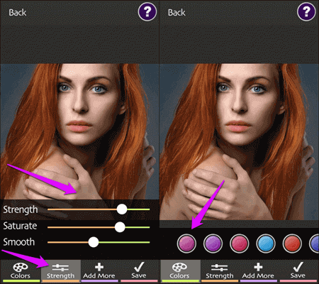 Another iOS application for changing hair color in your photos is Hair Color Booth