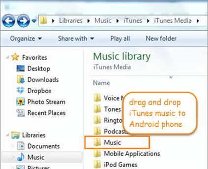 Manually Transfer iTunes Music to Android