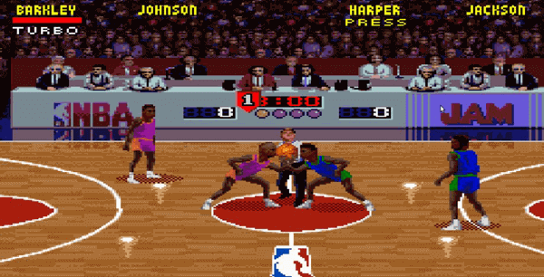 NBA Jam is likely the best online multiplayer sports game which offers two-on-two basketball game.