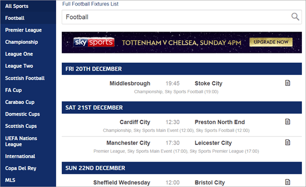 Sky Sports is a versatile platform to stream Football matches and live TV.