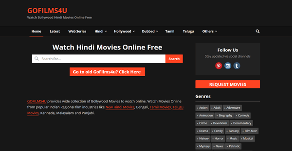 Gofilms4u is highly browsed for watching movies online in HD quality.