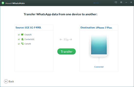 One Click to Transfer WhatsApp Chats from Android to iPhone