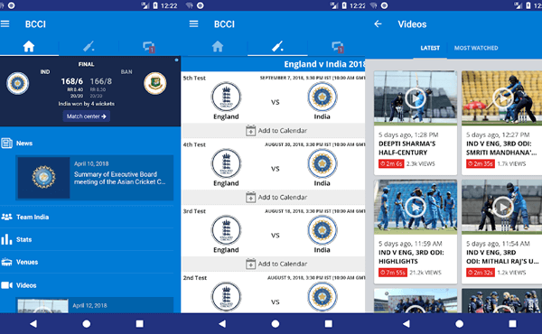 Here is an app that is developed, undertaken and maintained by the BCCI itself.