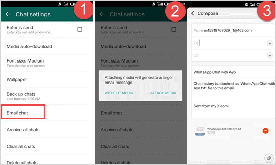 Transfer WhatsApp Chats from Android to iPhone by Email